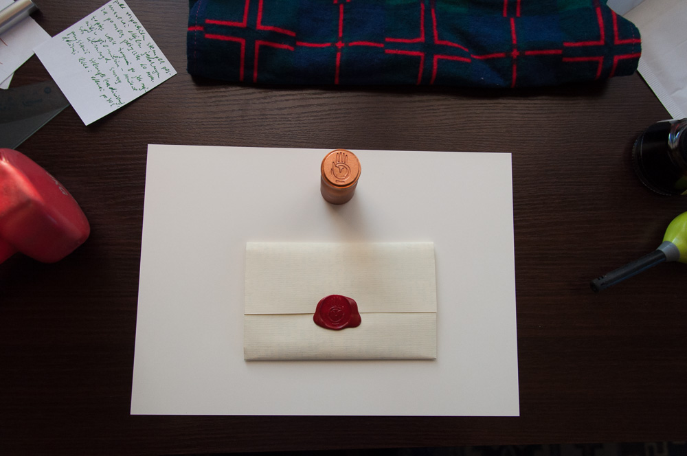 Workspace for using a wax seal